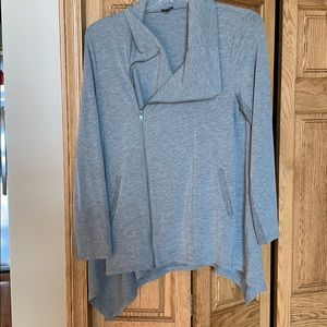 Gray off centered zip up cardigan sweater.